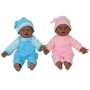 """Sweet African American Twin Dolls 12"""", Play Baby Dolls Full Body African American Twins"""