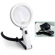 2.5X90mm 8X25mm 10 LED Folding Lamp Magnifier Magnifying Glass Microscope (Code - MA NI 61)