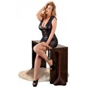 Cottelli Plus Size - fényes-csipke ruha (fekete) XXL