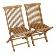 Happy Garden Lot de 2 chaises de jardin en teck LOMBOK