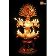 Rebuy Electric Diya Multi Lightning Meenakari Colorful 2 Layer Deepak for Puja/Mandir / Festival Decoration