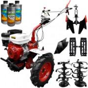 Pachet motocultor Media Line MS 15000 CF model 2019 motor 15CP freza segmentabila 140cm roti cauciuc rarita fixa roti metal + Plug
