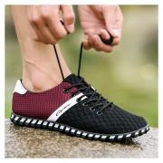 Zapatillas Para Hombres Buena Pormeable Al Aire - Negro Y Rojo