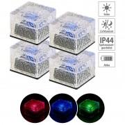 Lunartec 4er-Set Solar-RGB-LED-Glasbausteine, Dämmerungsssensor, 7 x 5,4 x 7 cm