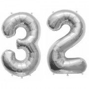 De-Ultimate Solid Silver Color 2 Digit Number (32) 3d Foil Balloon for Birthday Celebration Anniversary Parties