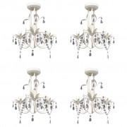 vidaXL Кристални полилеи/пендели за таван, 4 бр, елегантни, бели