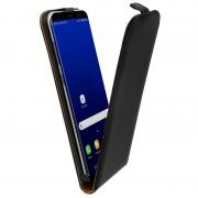 Avizar Funda Vertical de Cuero Auténtico Negra para Samsung Galaxy S8 Plus