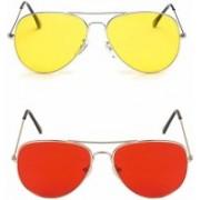 K & K Aviator Sunglasses(Red, Yellow)
