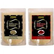 Donnara Organics 100% Natural Rose Petal Powder and Kaunch Beej powder Combo pack of 2 of 150 gms(300 gms)