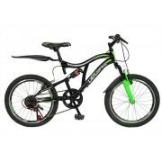 Bicicleta copii MTB-FS 20 Velors V2059A cadru otel negru verde