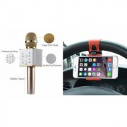 Zemini Q7 Microphone and Car Sterring Holder for XOLO BLACK 1X(Q7 Mic and Karoke with bluetooth speaker | Car Sterring Holder Car Minnor Holder Mobile Holder )