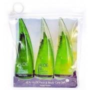 Holika Holika Jeju Aloe Face&Body Care Żel aloesowy pielegnacyjny 55ml + Pianka oczyszczająca 55ml + Żel pod prysznic 55ml