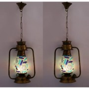 Somil Antique Pendant Hanging Lantern Lamp Light With Colorful Glass Perfect Match Of Trading And Traditional (Set Of 2)
