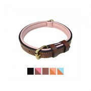 Soft Touch Collars Leather Two-Tone Padded Dog Collar, Brown Pink, Small