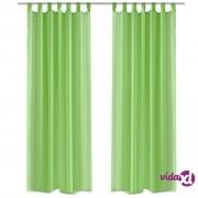 vidaXL Zelene prozirne zavjese 140 x 245 cm 2 kom
