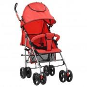 vidaXL Carrinho de bebé 2-em-1 dobrável vermelho aço