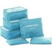 Way Beyond Double Zipper Waterproof Polyester Travelling Garment Poches Organizer Bag 6 Pcs(Blue)