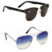 Aventus Oval, Aviator Sunglasses(Black, Blue)