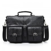 Men PU Leather Large Capacity Crossbody Bag Travel Bag Multi-function Backpack