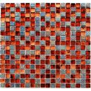 Maxwhite JSM-JB011 Mozaika skleněná červená oranžová ocelová 29,7x29,7cm