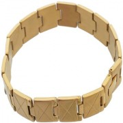 Sanaa Creations Gold Stainless Steel Cross Line New Fashion Bracelet for Men Boys Daily/Party Wear Stylish Fashion