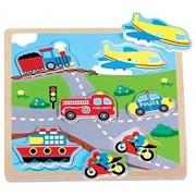 Lelin Children Kids Wood Wooden Transport Vehicle Sound Musical Jigsaw Puzzle