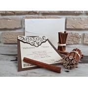 Invitatie nunta cu ornamente maro inchis cod 2760
