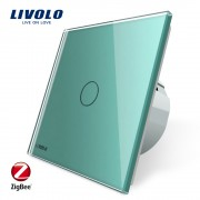 Intrerupator simplu cu touch Livolo din sticla - protocol ZigBee, Control de pe telefonul mobil, verde