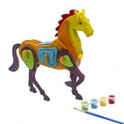 3d Puzzle Art Projects Craft Wood 3d Puzzles for Kids Ages 6-8 &up Assemble Paint DIY Animal Crafts Horse by Miscy