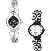 New Attractive Black Flower Designer Best Look Combo Analog Watch For Women (Pack Of 2) Watch