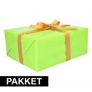 Shoppartners Groen inpakpapier pakket met goud lint en plakband