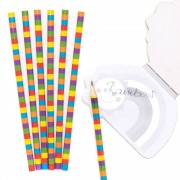 Baker Ross Rainbow Kids Pencils - 12 Funny Wooden Pencils. Fun Pencils For School. Summer Party Bag Fillers. Size 18cm.