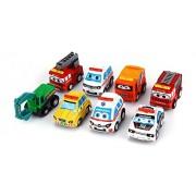 Kids_Bazar 8 Pcs Pull-Back Transport Vehicle ,Multi Color