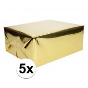 Shoppartners 5x Inpakpapier/cadeaupapier goud metallic 400 x 50 cm op rol