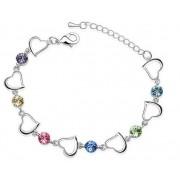 Bratara argint femei Inima Love Hearth cu Cristale SW Multicolor