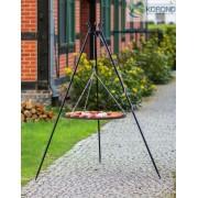 BBQ Schwenkgrill, mit Rost aus geschwärtztem Stahl 80 cm und Dreibein Stativ 180 cm Hoch.