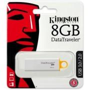 Kingston DataTraveler G4, USB 3.0 minne, 8GB, vit/gul - (DTIG4/8GB)
