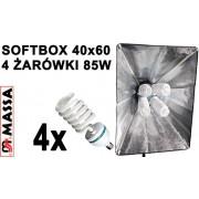 ZESTAW L464: softbox 40x60cm , statyw 230cm, 4x żarówka 85W
