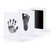 Baby fotokaartje handafdruk en voetafdruk - inkt kraamcadeau - eenvoudig schoonmaken - kleur zwart - 2 kaartjes