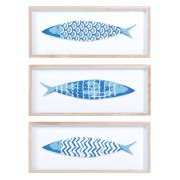 Maisons du Monde 3 cuadros peces azul 14x33