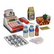 Casa de marcat cu sunete jucarie pentru copii cu accesorii si cos de cumparaturi scanner supermarket ATS