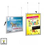 Edimeta Cadre Clic-Clac LED double-face A0 suspendu