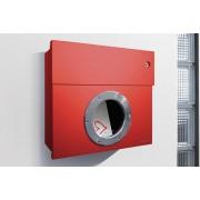 Radius Design Letterman 1 Briefkasten rot (RAL 3020) mit Klingel in rot ohne Pfosten