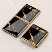GKK Folding Painted Tempered Glass Phone Case for Samsung Galaxy Z Flip - Black/Gold Marble Pattern