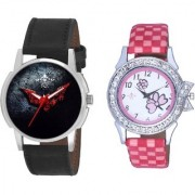 Black - Red Fancy Dial And Pink Flowers Design Couple Casual Analogue Wrist Watch By Vivah Mart