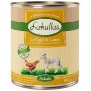 6х800г Adult Lukullus консервирана храна за кучета без зърно - говеждо и пуешко