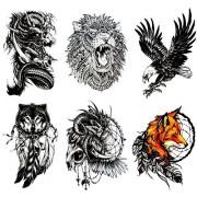 Large Temporary Tattoos (Set of 6 ) Spirit Animals, Dragon/Fox/Wolf/Lion/Eagle/Skull/Tribal Waterproof Body Art Tattoo