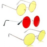 Phenomenal Round Sunglasses(Yellow, Red)