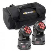 Beamz Set de efectos de luz 2x MHL-74 Moving-Head Mini Wash & 1x Soft Case (PL-6628-31779)