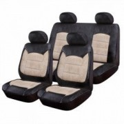 Huse Scaune Auto Skoda Octavia 2 - RoGroup Luxury Negru Crem 9 Bucati